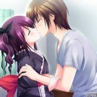 qq头像动漫情侣接吻:当你看到山