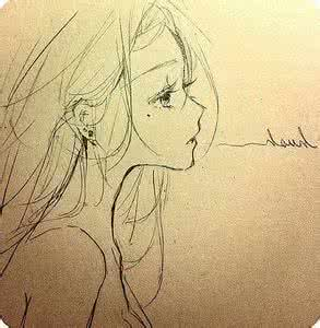 qq素描头像女生唯美:老婆我爱你